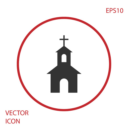 Grey Church building icon isolated on white background. Christian Church. Religion of church. Red circle button. Vector Illustration