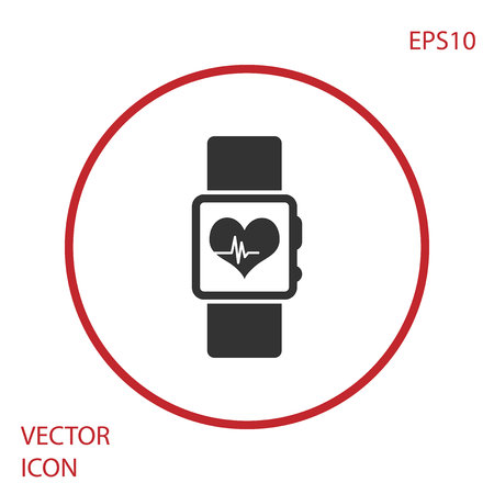 Grey Smart watch showing heart beat rate icon isolated on white background. Fitness App concept. Red circle button. Vector Illustration
