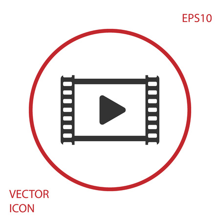 Grey Play Video icon isolated on white background. Film strip with play sign. Red circle button. Vector Illustration