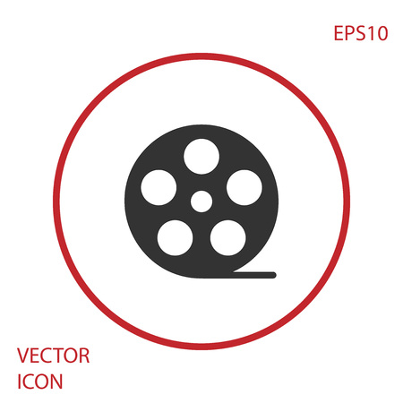 Grey Film reel icon isolated on white background. Red circle button. Vector Illustration