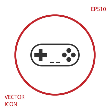 Grey Gamepad icon isolated on white background. Game controller. Red circle button. Vector Illustration Illustration