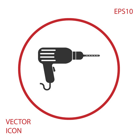 Grey Drill machine icon isolated on white background. Red circle button. Vector Illustration Illustration