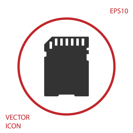 Grey SD card icon isolated on white background. Memory card. Adapter icon. Red circle button. Vector Illustration