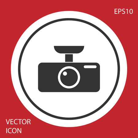 Grey Car DVR icon isolated on red background. Car digital video recorder icon. Circle button. Vector Illustration Illustration
