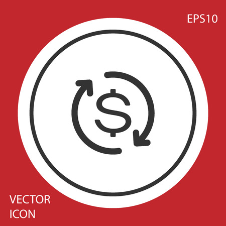 Grey Return of investment icon isolated on red background. Money convert icon. Refund sign. Dollar converter concept. Circle button. Vector Illustration
