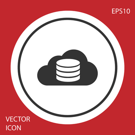 Grey Cloud database icon isolated on red background. Cloud computing concept. Digital service or app with data transferring. Circle button. Vector Illustration