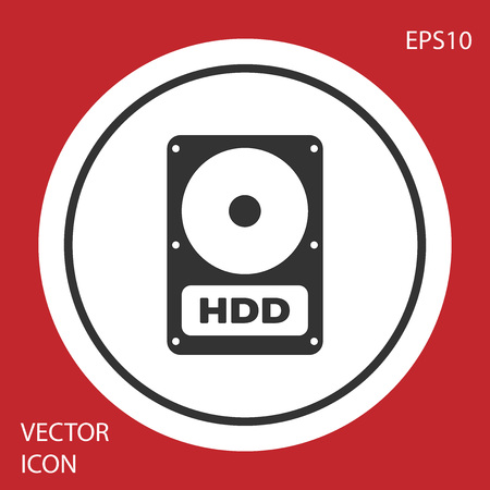 Grey Hard disk drive HDD icon isolated on red background. Circle button. Vector Illustration Illustration