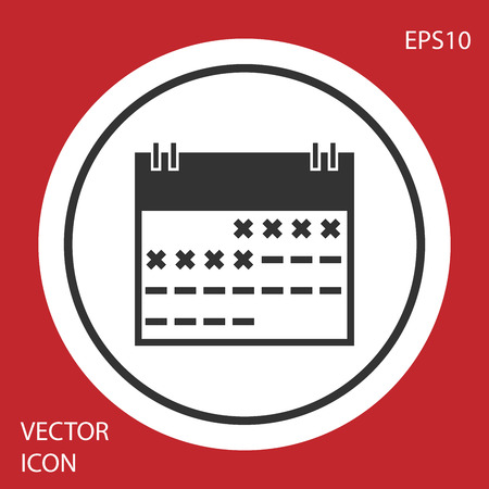 Grey Calendar icon isolated on red background. Circle button. Vector Illustration
