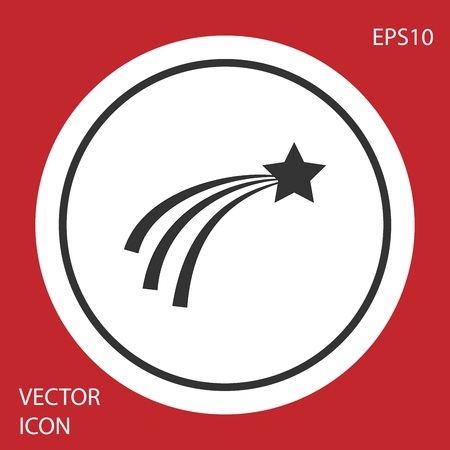 Grey Falling star icon isolated on red background. Shooting star with star trail. Meteoroid, meteorite, comet, asteroid, star icon. Circle button. Vector Illustration