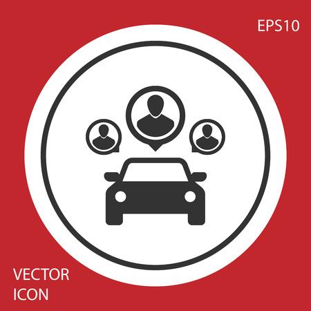 Partage de voiture gris avec un groupe de personnes icône isolé sur fond rouge. Signe d'autopartage. Concept de service de location de transport. Bouton cercle blanc. Illustration vectorielle