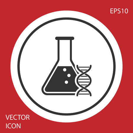 Grey DNA research, search icon isolated on red background. Genetic engineering, genetics testing, cloning, paternity testing. White circle button. Vector Illustration
