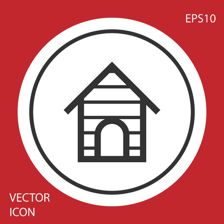 Grey Dog house icon isolated on red background. Dog kennel. White circle button. Vector Illustration