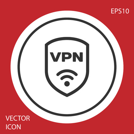 Grey Shield with VPN and wifi wireless internet network symbol icon isolated on red background. VPN protect safety concept. White circle button. Vector Illustration Illustration