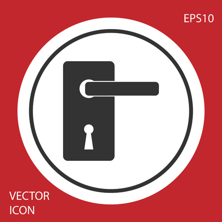 Grey Door handle icon isolated on red background. Door lock sign. White circle button. Vector Illustration