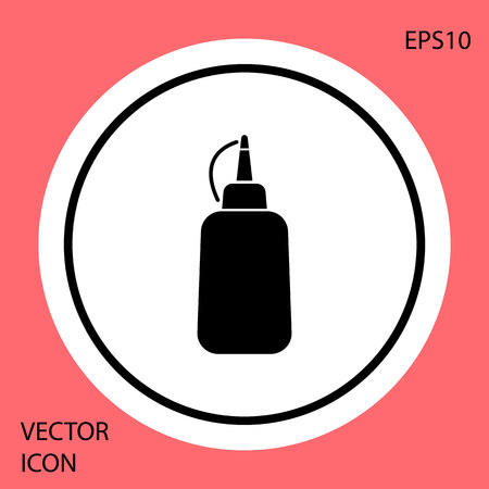 Black Mustard bottle icon isolated on red background. White circle button. Vector Illustration Illustration