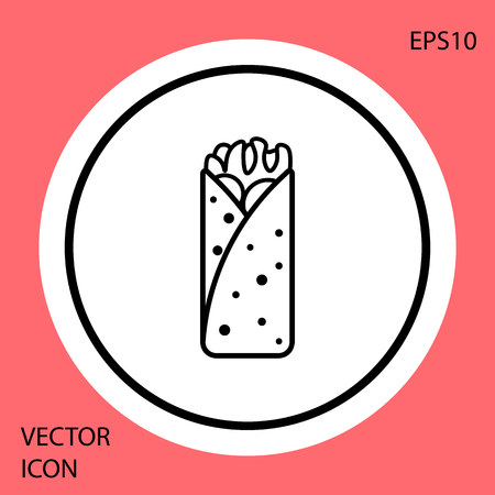 Black Burrito icon isolated on red background. Traditional mexican fast food. White circle button. Vector Illustration Векторная Иллюстрация