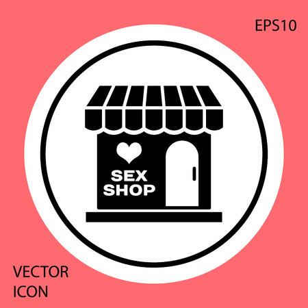 Black Sex shop building with striped awning icon isolated on red background. Sex shop, online sex store, adult erotic products concept. White circle button. Vector Illustration