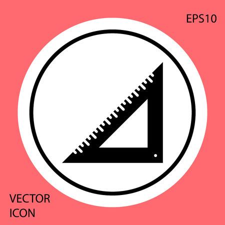 Black Triangular ruler icon isolated on red background. Straightedge symbol. Geometric symbol. White circle button. Vector Illustration Illustration