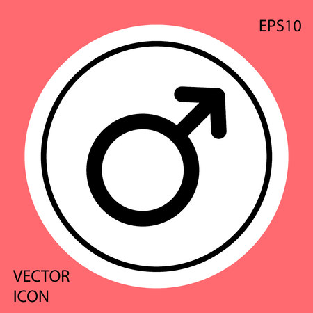 Black Male gender symbol icon isolated on red background. White circle button. Vector Illustration