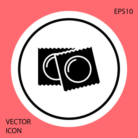 Black Condoms in package safe sex icon isolated on red background. Safe love symbol. Contraceptive method for male. White circle button. Vector Illustration