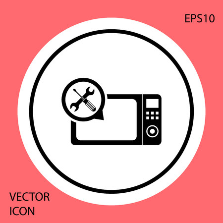Black Microwave oven with screwdriver and wrench icon isolated on red background. Adjusting, service, setting, maintenance, repair, fixing. White circle button. Vector Illustration