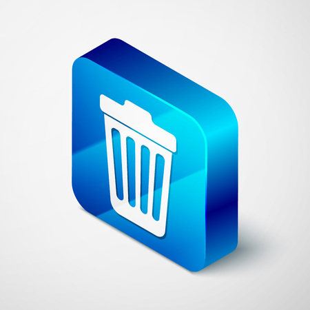Isometric Trash can icon isolated on white background. Garbage bin sign. Blue square button. Vector Illustration