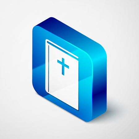 Isometric Holy bible book icon isolated on white background. Blue square button. Vector Illustration