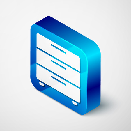 Isometric Furniture nightstand icon isolated on white background. Blue square button. Vector Illustration
