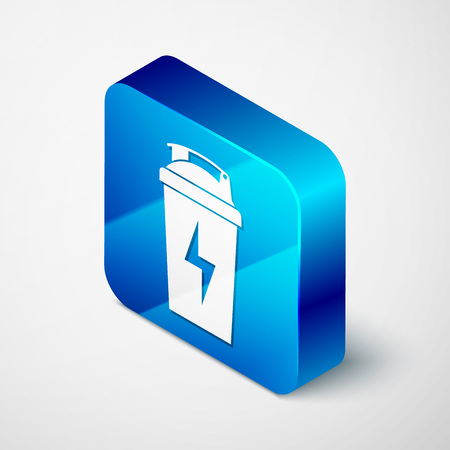 Isometric Fitness shaker icon isolated on white background. Sports shaker bottle with lid for water and protein cocktails. Blue square button. Vector Illustration Illustration