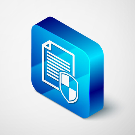Isometric Document protection concept icon on white background. Confidential information and privacy idea, secure data with paper doc roll and guard shield. Blue square button. Vector Illustration