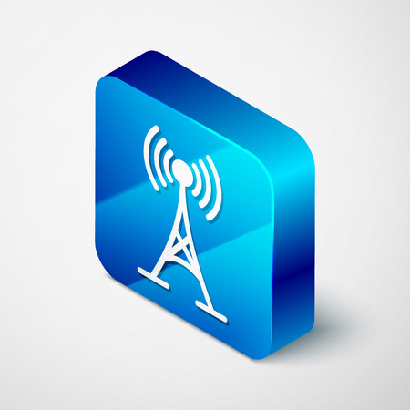 Isometric Antenna icon isolated on white background. Radio antenna wireless. Technology and network signal radio antenna. Blue square button. Vector Illustration Illustration