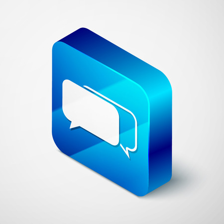 Isometric Chat icon isolated on white background. Speech bubbles symbol. Blue square button. Vector Illustration Illustration