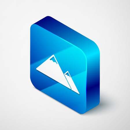 Isometric Mountains icon isolated on white background. Symbol of victory or success concept. Blue square button. Vector Illustration