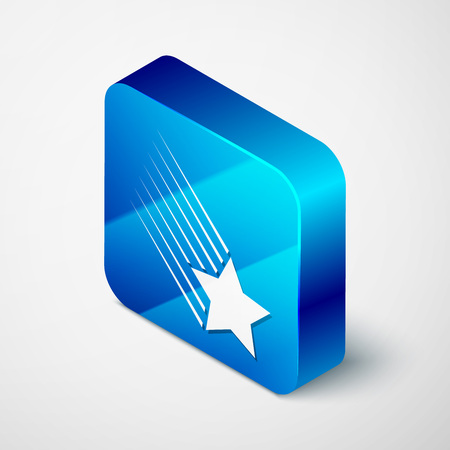Isometric Falling star icon isolated on white background. Shooting star with star trail. Meteoroid, meteorite, comet, asteroid, star icon. Blue square button. Vector Illustration Illustration