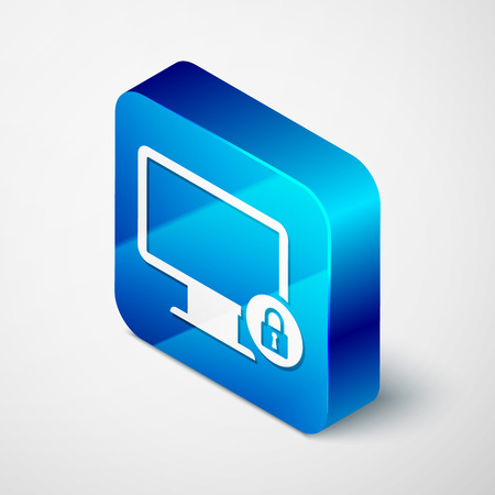 Isometric Lock on computer monitor screen icon isolated on white background. Monitor and padlock. Security, safety, protection concept. Safe internetwork. Blue square button. Vector Illustration Illustration