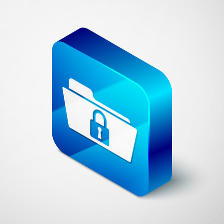 Isometric Folder and lock icon isolated on white background. Closed folder and padlock. Security, safety, protection concept. Blue square button. Vector Illustration