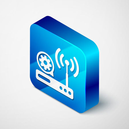 Isometric Router and wireless signal and gear icon isolated on white background. Adjusting app, service concept, setting options, maintenance, repair, fixing. Blue square button. Vector Illustration