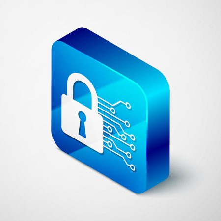 Isometric Cyber security icon isolated on white background. Closed padlock on digital circuit board. Safety concept. Digital data protection. Blue square button. Vector Illustration Illustration