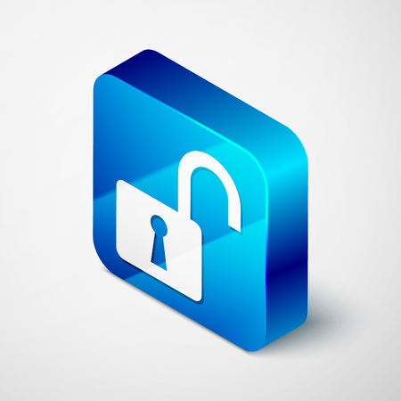 Isometric Open padlock icon isolated on white background. Opened lock sign. Cyber security concept. Digital data protection. Safety safety. Blue square button. Vector Illustration