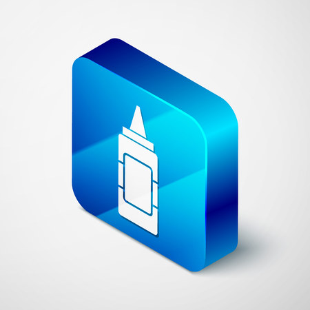 Isometric Mustard bottle icon isolated on white background. Blue square button. Vector Illustration Illustration
