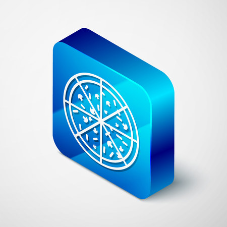 Isometric Pizza icon isolated on white background. Blue square button. Vector Illustration