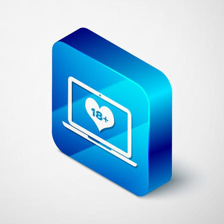 Isometric Laptop computer with 18 plus content heart icon isolated on white background. Age restriction symbol. 18 plus content sign. Adult channel. Blue square button. Vector Illustration