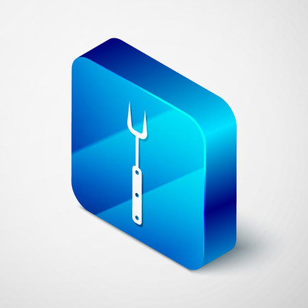 Isometric Barbecue fork icon isolated on white background. BBQ fork sign. Barbecue and grill tool. Blue square button. Vector Illustration