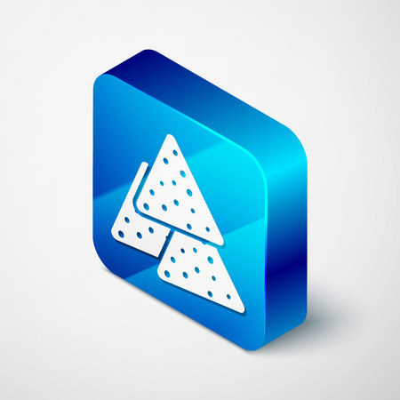 Isometric Nachos icon isolated on white background. Tortilla chips or nachos tortillas. Traditional mexican fast food. Blue square button. Vector Illustration