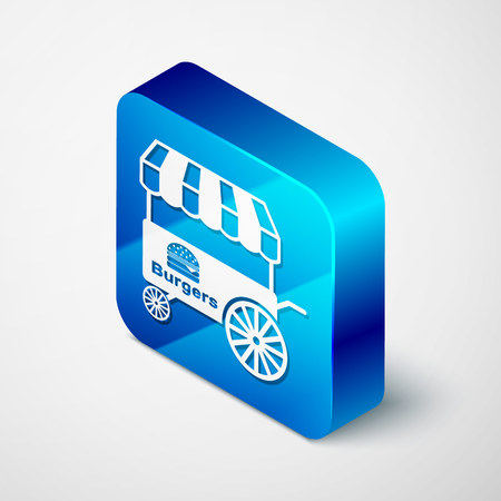 Isometric Fast street food cart with awning icon isolated on white background. Burger or hamburger icon. Urban kiosk. Blue square button. Vector Illustration