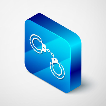 Isometric Sexy fluffy handcuffs icon isolated on white background. Handcuffs with fur. Fetish accessory. Sex shop stuff for sadist and masochist. Blue square button. Vector Illustration