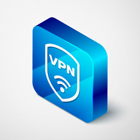 Isometric Shield with VPN and wifi wireless internet network symbol icon isolated on white background. VPN protect safety concept. Blue square button. Vector Illustration