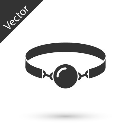 Grey Silicone ball gag with a leather belt icon isolated on white background. Fetish accessory. Sex toy for men and woman.  Vector Illustration