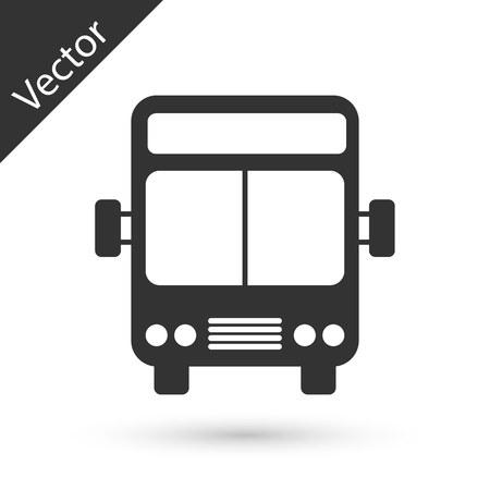Grey Bus icon isolated on white background. Transportation concept. Bus tour transport sign. Tourism or public vehicle symbol. Vector Illustration Vektorgrafik