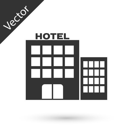 Grey Hotel building icon isolated on white background.  Vector Illustration Illustration